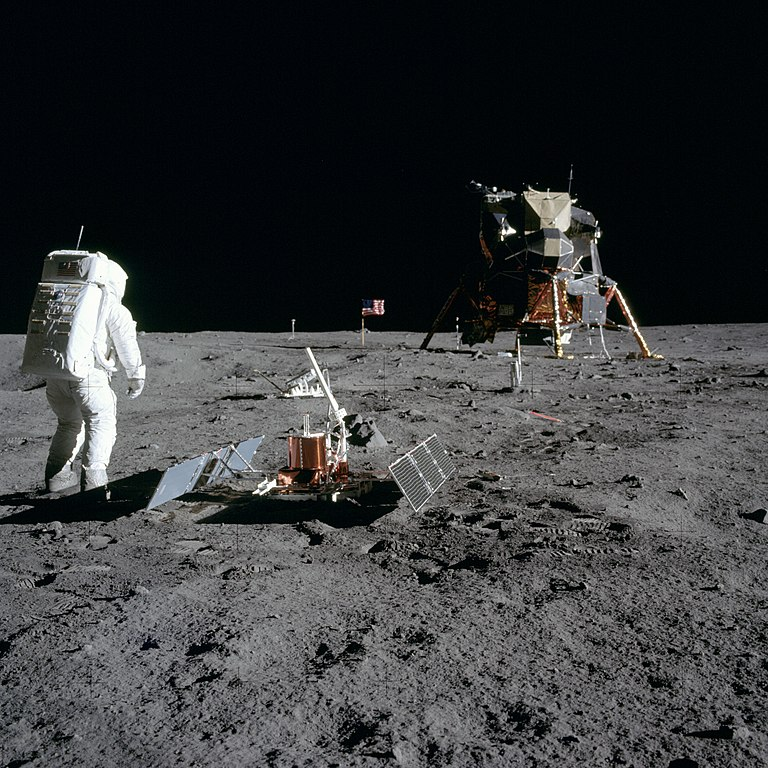 Astronaut Buzz Aldrin during the Apollo 11 extravehicular activity (EVA) on the moon