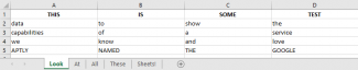 Screenshot of basic sheet including multiple tabs/sheets (Excel)